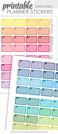 Printable Half Box Functional Stickers - Design Lovely Studio - #plannerstickers #functional #colorful #printable #downloadable