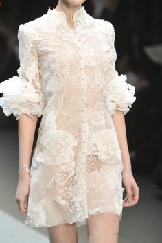Sheer shirt dress with button front, lace textures and ruffles cuffs - femininity in fashion; chic fashion details // Christophe Josse