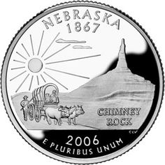 Nebraska became the 37th state in 1867 (see STATEHOOD ORDER).  Nebraska's state quarter depicts a covered wagon and Chimney Rock  (prominent geological formation in western Nebraska - national historic site:  a landmark along the Oregon, California, and Mormon Trails.  American Indians called the rock formation Elk Penis).