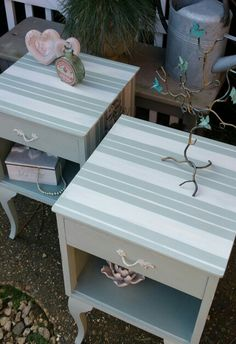 Shabby chic french bedsides in Annie Sloan's Duck Egg and Old White, by Imperfectly Perfect xx