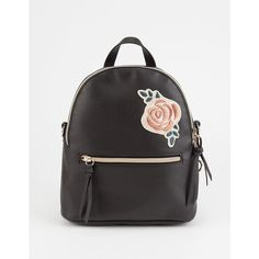 T-Shirt & Jeans Rose Patch Mini Backpack (89 BRL) ❤ liked on Polyvore featuring bags, backpacks, backpack bags, mini bag, vegan backpack, day pack backpack and vegan leather backpack