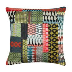Bright patchwork cushion @ Margo Selby