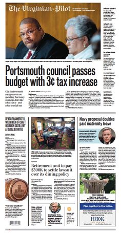 The Virginian-Pilot's front page for Wednesday, May 13, 2015.