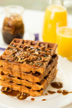 Cinnamon-spiced Belgian waffles topped with a praline syrup and pecans ...