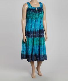 Look what I found on #zulily! Blue & Green Tie-Dye Sleeveless Dress - Plus #zulilyfinds