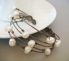 Pearl+Button+White++Wire+Wrapped+Copper+by+FortunesFavorites