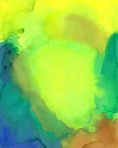 Renewal, Original Watercolor Painting, Abstract Art Landscape spring lime green aqua orange yellow zen