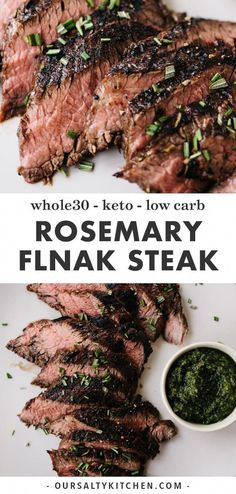 This grilled rosemary flank steak is a perfect summer grilling recipe. A quick a. This grilled rosemary flank steak is a perfect summer grilling recipe. A quick and easy marinade of Strip Steak, Paleo Recipes, Real Food Recipes, Chicken Recipes, Dinner Recipes, Grilled Recipes, Healthy Steak Recipes, Rosemary Chicken, Healthy Smoothie Recipes