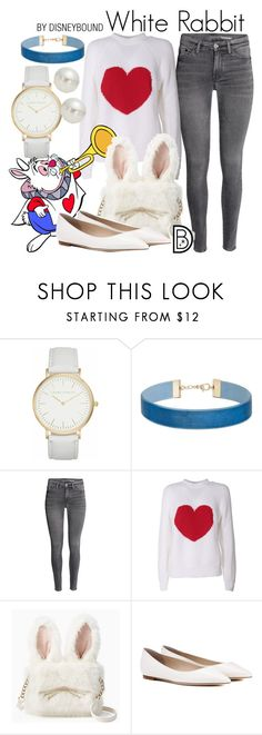"""White Rabbit"" by leslieakay ❤ liked on Polyvore featuring Laura Ashley, Miss Selfridge, MSGM, Disney, Jimmy Choo, AK Anne Klein and DisneyBoundChallenge"
