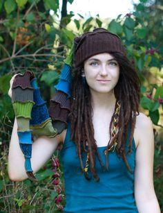 XX Long Adult Stocking cap long, rainbow, Elf hat, recycled sweater, Hippie ,winter fun,ski,snowboard,nordic, toboggan. $45.00, via Etsy.