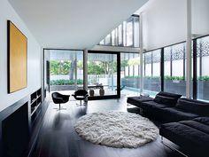Dark Wood Flooring Interior Design Home Design Living Room Design Modern House Design, Home Design, Home Interior Design, Design Ideas, Design Trends, Modern Houses, Interior Walls, Interior Ideas, Modern Interior