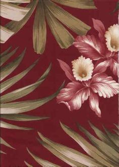 Vintage inspired tropical Hawaiian orchid flowers, cotton bark cloth upholstery fabric.. Find more of these fabrics at BarkclothHawaii.com 20% off when you add Pin20 to the comment box at checkout!