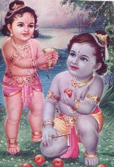 Shri Krishna and His brother, Balrama. Balrama knows that Shri Krishna is very fond of of milk and curd, thus he seeks to trade his brother a cup of milk for a few small apples.