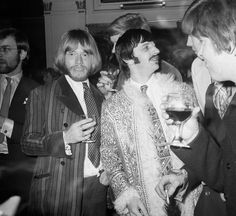 Brian wearing his rainbow striped jacket with the velvet peaked-lapels from Dandie Fashions, 161, King's Road.