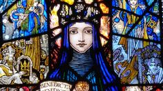 Harry Clarke St Josephs Church Terenure, Dublin, Republic of Ireland - fine stained glass windows - four remarkable windows designed and produced by Harry Clarke in Stained Glass Church, Stained Glass Art, Stained Glass Windows, Harry Clarke, Irish Art, Painting Process, Cross Paintings, Arts And Crafts Movement, Oeuvre D'art
