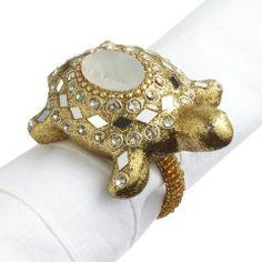 Gold Mosaic Turtle Napkin Ring