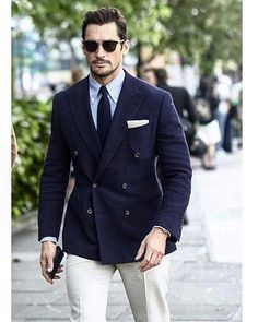 David Gandy | @davidgandy_official wearing our ready to wear navy wool/silk DB, Beige hopsack trousers and blue Oxford button down at day 1 of LCM. #Thomsweeney #menswear #mensstyle #readytowear #lcm