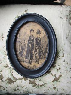 Antique 1897 Tin Framed Sepia Tone Cupid Awake Portrait