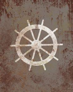 Vintage Nautical Wheel - Distressed Print - Children Nursery Playroom Artwork. $12.00, via Etsy.