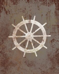 Vintage Nautical Wheel - Distressed Print - Children Nursery Playroom Artwork. $12.00, via Etsy.
