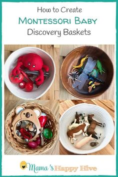 Four ideas for how to create Montessori baby discovery baskets that include colors, insects, animals (matching printable), & child-safe musical instruments. Montessori Baby, Montessori Education, Montessori Materials, Montessori Activities, Baby Education, Infant Activities, Activities For Kids, Montessori Bedroom, Baby Treasure Basket