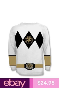 Adult TV Show Mighty Power Rangers Long Sleeve White Ranger Costume T-shirt Tee Power Rangers T Shirt, Tommy Oliver, Y & T, Shirt Outfit, Sweatshirts, Sweaters, Clothes, Accessories, Shoes