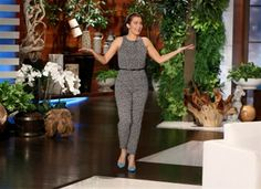 "Bellamy Young wearing a Max Mara jumpsuit on ""The Ellen DeGeneres Show"" on March 16, 2015 in Los Angeles"