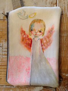 ANGEL - hand painted wristlet Weird And Wonderful, Beautiful Things, Angel Decor, Craft Projects, Craft Ideas, Indian Paintings, Whimsical Art, Angel Wings, Mixed Media Art