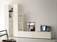 Sectional TV wall system SLIM 8 by Dall'Agnese design Imago Design, Massimo Rosa