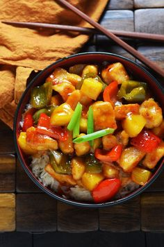 Sweet and Sour Chicken! A healthy, tasty, easy version of the Chinese takeout favorite!