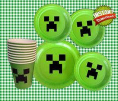 Minecraft Plate Stickers  Minecraft Party by invitestudioshoppe, $4.25