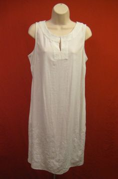 JACLYN SMITH White Linen Shift Dress Embroidered Sleeveless Linen Womens Size M #JaclynSmith #Shift #Casual
