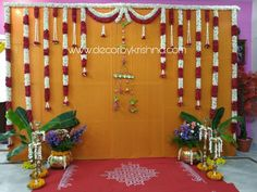 DecorbyKrishna is taking orders for eco-friendly home based events decor, like p… Simple Stage Decorations, Engagement Stage Decoration, Wedding Hall Decorations, Desi Wedding Decor, Marriage Decoration, Wedding Mandap, Backdrop Decorations, Flower Decorations, Wedding Ideas