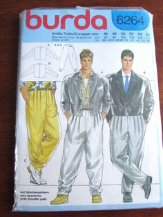 """VERY RARE BURDA Men's Suit Pattern in Zoot Suit Style for 36""""-44"""" chests"""