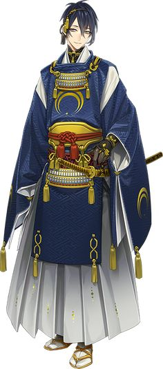 Mikazuki Munechika,The One Of Tenka-Goken Anime Guys, Manga Anime, Anime Art, Anime Kimono, Fantasy Characters, Anime Characters, Touken Ranbu Mikazuki, Character Art, Character Design