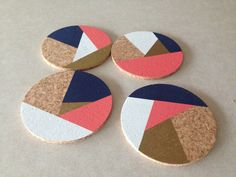 Navy Coral Gold White Abstract 4 Round Cork by CorkCoasters