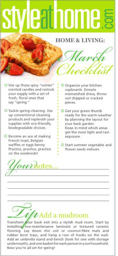 Home & living checklist: March - Style At Home Source by . Style At Home, Monthly Celebration, Cleaning Baking Sheets, Spring Activities, Toddler Activities, Learning Activities, Home Maintenance Checklist, Home Organization, Organizing Ideas