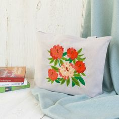 Rhododendron Flower Embroidered Tote Bag  by LucyLynDesigns