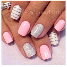 Nail art feshion nail 2018 nail disains Stripe Nail Art, Stripe Nail Designs, Acrylic Nail Designs Glitter, Shellac Nail Designs, White Nail Designs, Pretty Nail Designs, Nails Design, Toe Nail Designs, Cute Summer Nail Designs