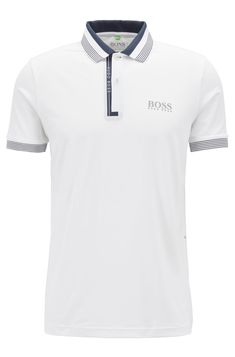 BOSS - Regular-fit polo shirt with moisture management Polo Shirt Style, Black Polo Shirt, Polo T Shirts, Hugo Boss, T Shorts, Ralph Lauren Style, Camisa Polo, Golf Outfit, Mens Clothing Styles