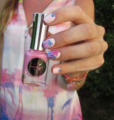 pink palmtree nails