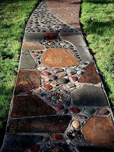 Brown Pebble Mosaic Tile Art Plaque Fluss Rock Way DIY Garten Gehweg … - Diyhome-dekoration. Stepping Stone Pathway, Stone Garden Paths, Stone Walkway, Garden Stones, Landscape Edging Stone, Rock Walkway, Mosaic Walkway, Stone Pathways, Pebbles For Garden