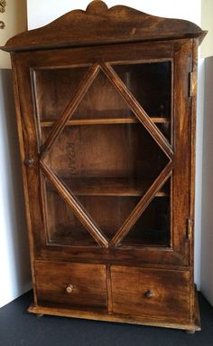 Large Wood and Glass  Spice/Curio Cabinet Kitchen Decor on Etsy, $125.00