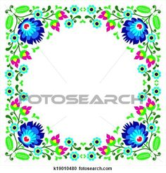 Polish floral folk embroidery frame View Large Clip Art Graphic