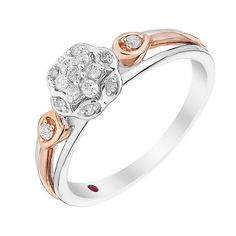 Cherished Argentium Silver & Rose Gold Diamond Cluster Ring - Product number 2978695