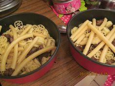 Italian pasta, mixed, with lots of veggies and a homemade sauce...next photos...