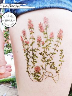 Vintage Wild Thyme (1 Piece) Antique Floral Illustration Large Temporary Tattoo