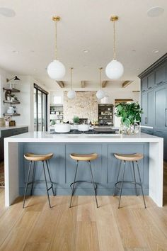 Modern kitchen with open shelves, natural wood barstools, blue cabinets with whi. - Modern kitchen with open shelves, natural wood barstools, blue cabinets with white waterfall edged - Farmhouse Style Kitchen, Modern Farmhouse Kitchens, Home Decor Kitchen, Kitchen Furniture, Home Kitchens, Kitchen Ideas, Room Kitchen, Gray Kitchens, Coastal Farmhouse
