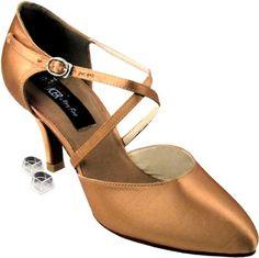 Very Fine Womens Salsa Ballroom Tango Latin Dance Shoes Style Closed Toe  Bundle with Plastic Dance Shoe Heel Protectors Tan Satin 65 M US Heel 275  Inch     ... 0eb0b3823