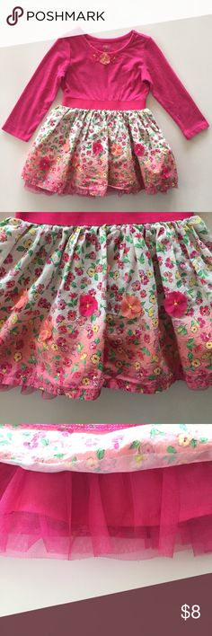 Children's Place Floral Dress Adorable bright pink dress with floral print skirt.  It has flower appliqué on the bodice and skirt.  It fits so cute on!  Est. 1989 Place brand.  Perfect for Spring. Children's Place Dresses